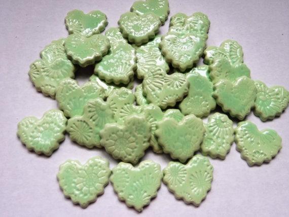 15 handmade embossed sea foam green heart tiles