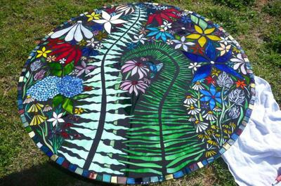 funky floral glass on glass stained glass mosaic table top