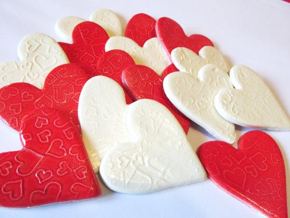 6 handmade embossed white and red heart tiles