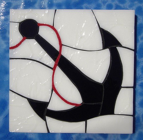 Anchor design stained glass coasters