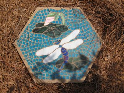 Dragonfly and Lilypad Concrete Stepping Stone