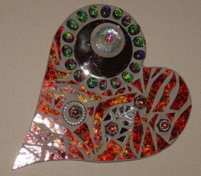 Stained glass and mixed media heart