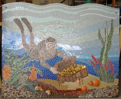 Mosaic Underwater Diver and Treasure Chest