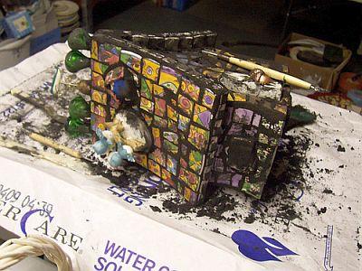 Grouting my mosaic bird house